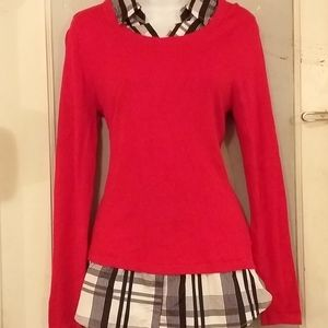 3/$20 Red with black & white plaid L/S top, sz M